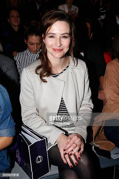Katrin Bauerfeind attends the Laurel show during the MercedesBenz Fashion Week Berlin Autumn/Winter 2016 at Brandenburg Gate on January 20 2016 in...