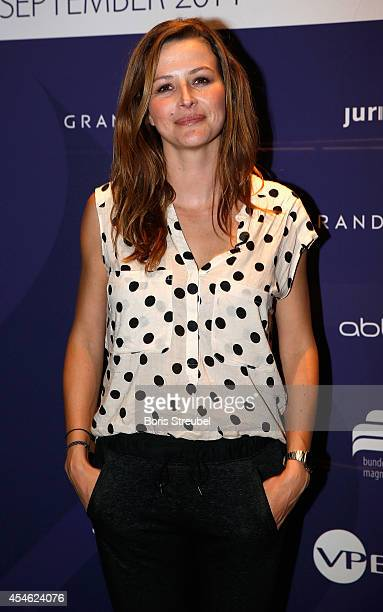 Katrin Bauerfeind poses during the charity dinner of the Magnus Hirschfeld Federal Foundation at Grand Hyatt Hotel on September 4 2014 in Berlin...