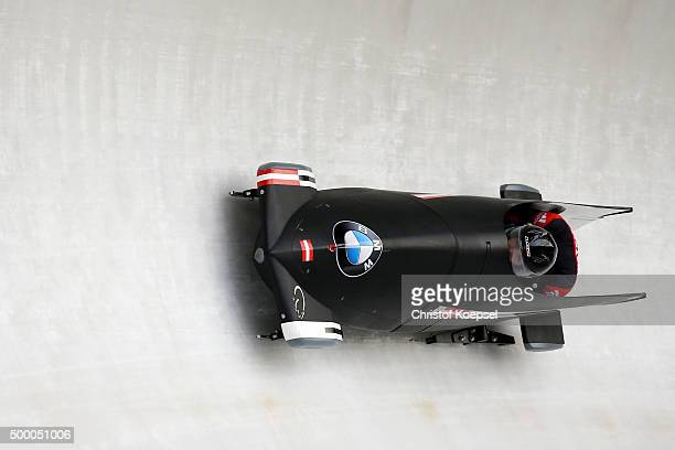 Katrin Beierl and Karlien Sleper of Austria compete in their first run of the two women's bob competition during the BMW IBSF Bob & Skeleton Worldcup...