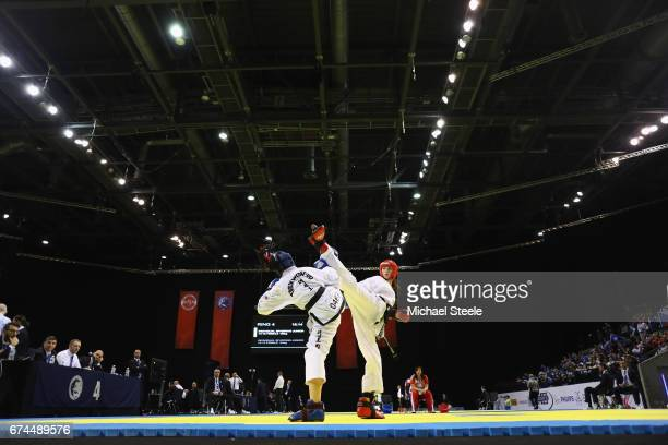 Katrin Gemkova of Bulgaria competes against Varvara Nadezhina of Russia in the Individual Sparring Junior 1415 Female 58kg category during day two of...