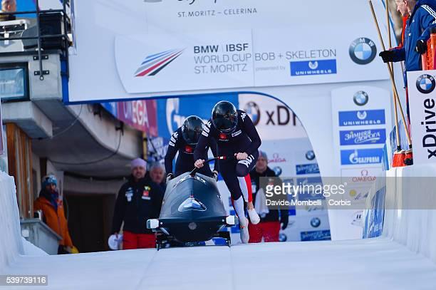 Katrin Hahn Victoria in action during the start BMW IBSF World Cup Bob 2 women 2015/2016 St Moritz Swiss