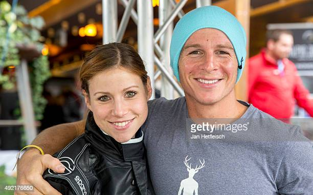 Katrin Hess and Daniel Roesner pose for a picture during the Alpin Juwel Cart Trophy 2015 on October 10 2015 in SaalbachHinterglemm Austria