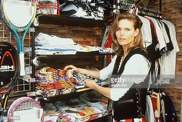 Katrin Krabbe * Athlete East Germany / Germany Katrin Krabbe in her sports shop in Neubrandenburg undated