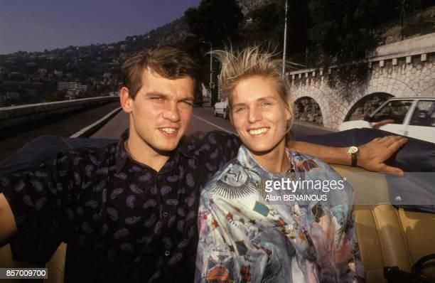 Katrin Krabbe athlete allemande championne du monde du 100 metres avec le champion allemand de canoekayak Torsten Krentz le 18 septembre 1991 a Monaco