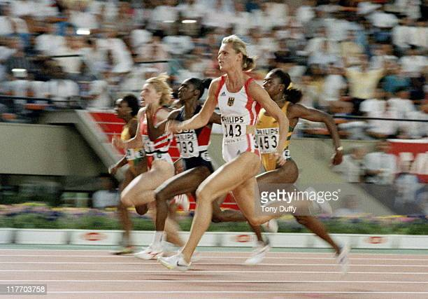 Katrin Krabbe of Germany during the Women's 100 metres final on 27th August 1991 during the 3rd IAAF World Championships in Athletics at the Olympic...