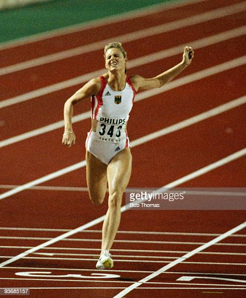 Katrin Krabbe of Germany gold medallist in the women's 200m final at the 3rd World Athletics Championships held at the Olympic Stadium in Tokyo Japan...