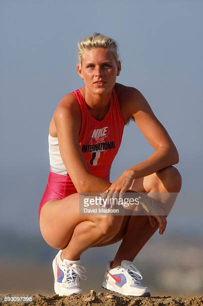 Katrin Krabbe of Germany participates in a photo session while training during June 1991 near San Diego California