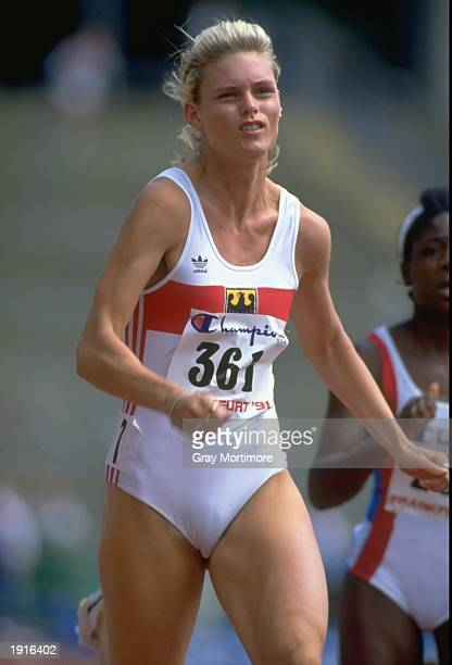 Katrin Krabbe of Germany running during the 100 Metres event at the Europa Cup Final in Frankfurt Germany Krabbe came second in this event Mandatory...