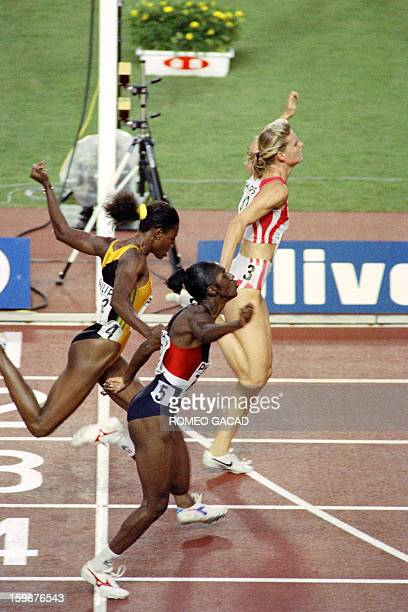 Katrin Krabbe of Germany speeds to victory timing 1099 sec in the 100 meter sprint at the 3rd World Athletics Championships on August 27 1991 In...
