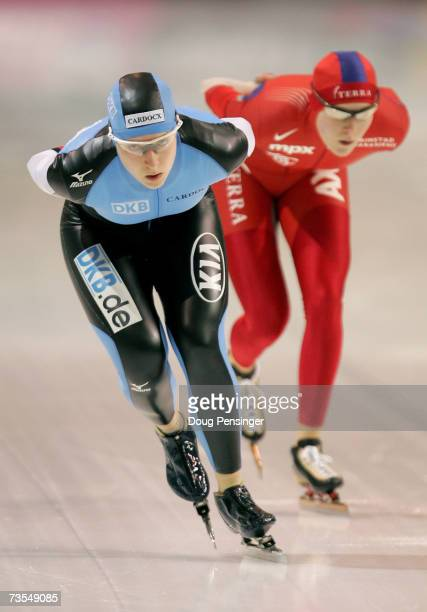 Katrin Mattscherodt of Germany skates to 15th place as she is followed by Maren Haugli of Norway who placed 5th in the Ladies 5000m at the 2007 ISU...
