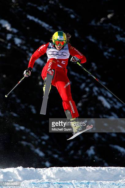 Katrin Mueller of Switzerland races down the course during the official training session and qualification for the Audi FIS Freestyle Skiing World...