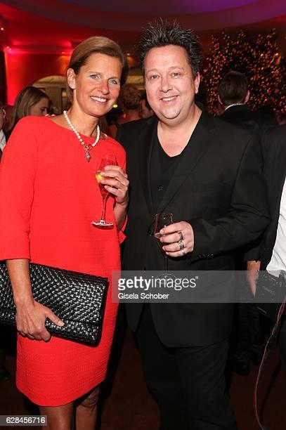 Katrin MuellerHohenstein and Sebastian Krumbiegel singer of 'die Prinzen' during the 10th Audi Generation Award 2016 at Hotel Bayerischer Hof on...