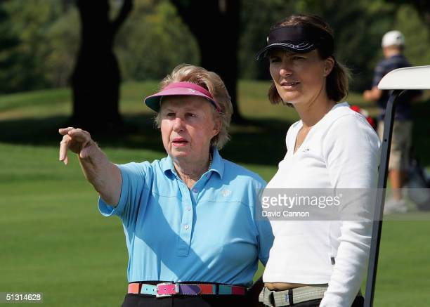 Katrin Nilsmark of Sweden the European Solheim Cup Captain taking advice from Alice Dye of the USA the wife of course architect Pete Dye during her...
