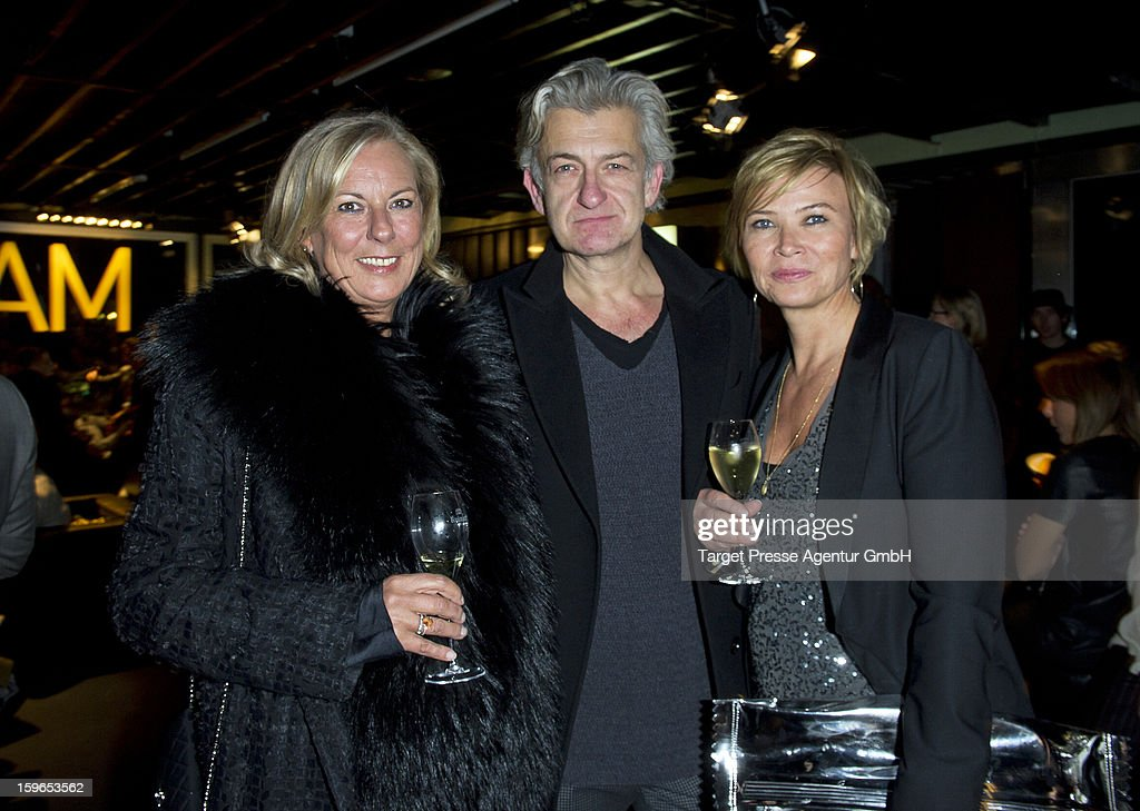 Katrin Riebartsch, chief editor of the German Madame, actor Dominic Raacke and Ute Zahn attend the Brand Media Fashion Cocktail with Madame, L'Officiel Hommes, Petra and Jolie at Platoon during the Mercedes-Benz Fashion Week Autumn/Winter 2013/14 on January 17, 2013 in Berlin, Germany.