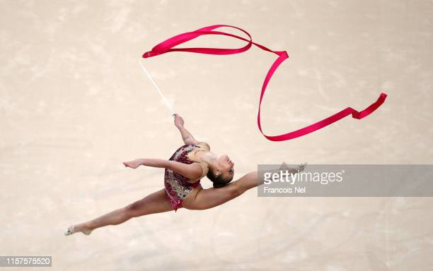 Katrin Taseva of Bulgaria competes in the Rhythmic Gymnastics Individual Qualification during day two of the 2nd European Games at Minsk Arena on...