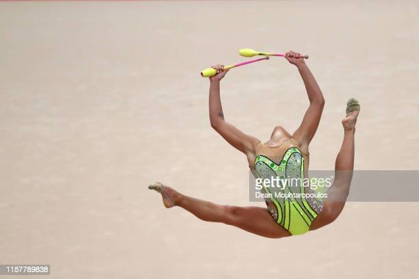 Katrin Taseva of Bulgaria competes in the Rhythmic Gymnastics Women's clubs Finals during the 2nd European Games held in the Minsk Arena on June 23...