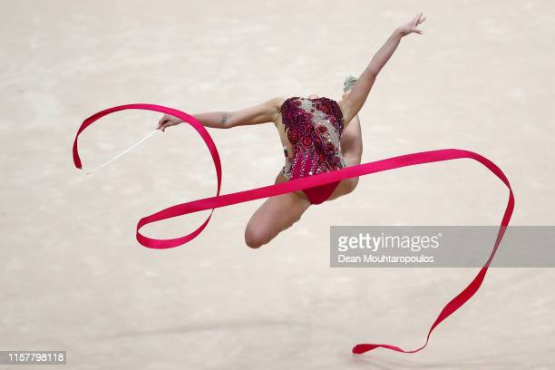 Katrin Taseva of Bulgaria competes in the Rhythmic Gymnastics Women's Ribbon Finals during the 2nd European Games held in the Minsk Arena on June 23...