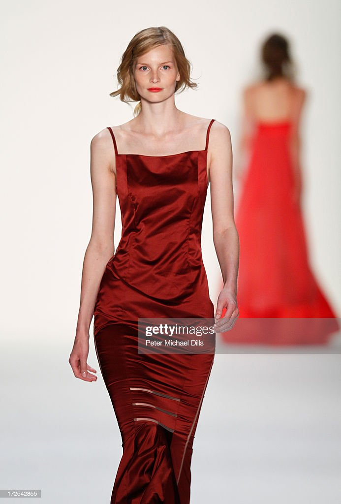 Katrin Thormann walks the runway at Minx By Eva Lutz show during Mercedes-Benz Fashion Week Spring/Summer 2014 at Brandenburg Gate on July 3, 2013 in Berlin, Germany.