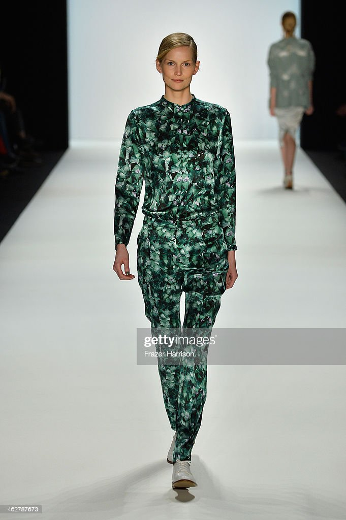 Katrin Thormann walks the runway at the Malaikaraiss Show during Mercedes-Benz Fashion Week Autumn/Winter 2014/15 at Brandenburg Gate on January 15, 2014 in Berlin, Germany.