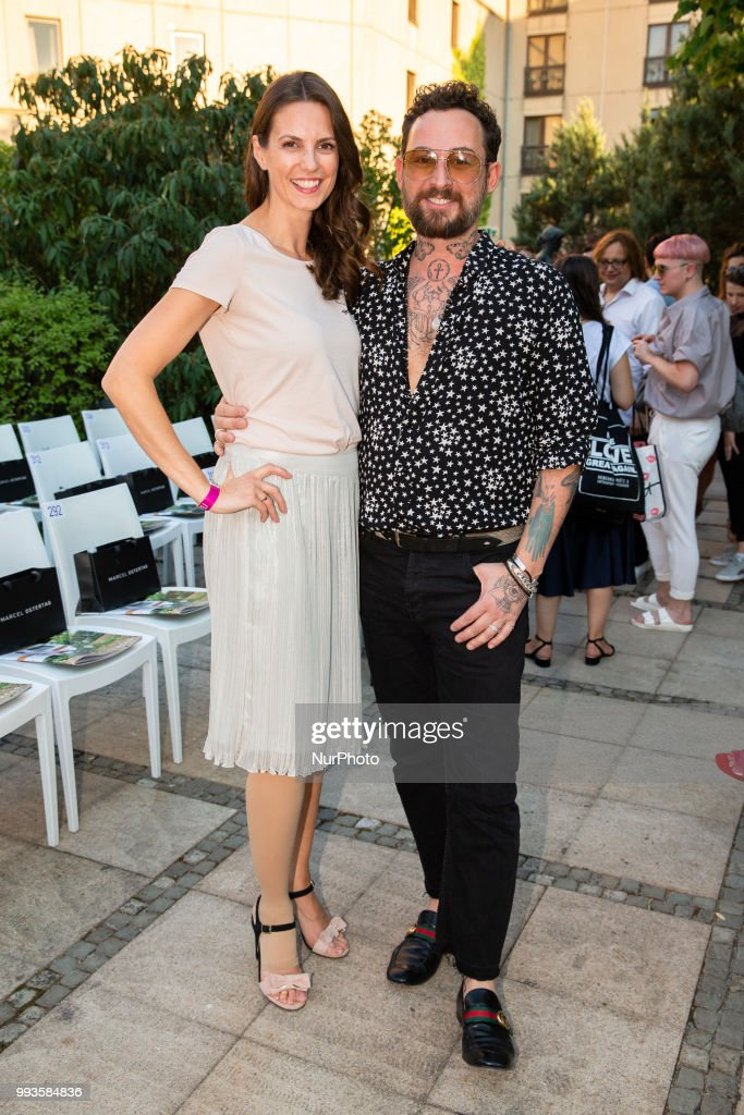 Katrin Wrobel and Fashion Designer Marcel Ostertag attend the Marcel Ostertag Fashion Show during the Berlin Fashion Week Spring/Summer 2019 in Berlin, Germany on July 4, 2018.