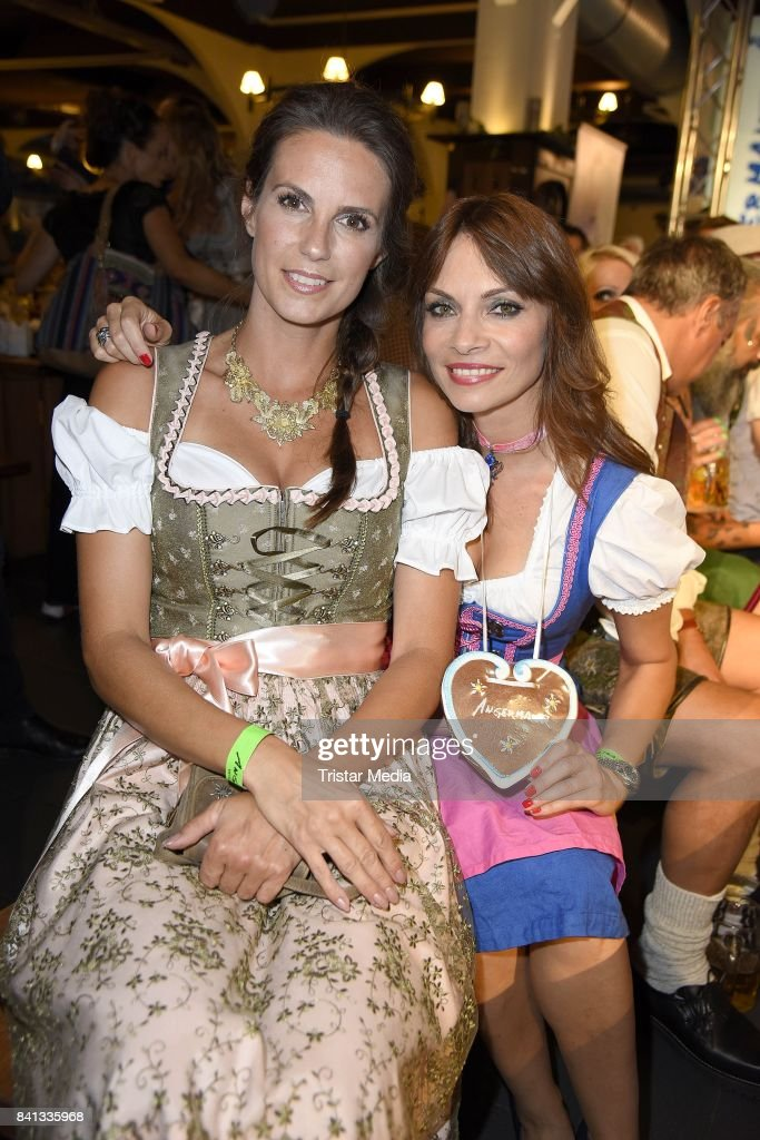 Katrin Wrobel and Jean Bork during the Angermaier Trachten-Nacht at Hofbraeuhaus on August 31, 2017 in Berlin, Germany.