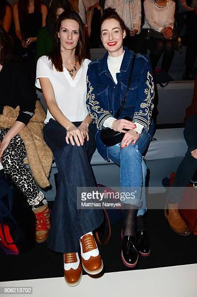 Katrin Wrobel and Kathy Weber atend the Anne Gorke show during the MercedesBenz Fashion Week Berlin Autumn/Winter 2016 at Brandenburg Gate on January...