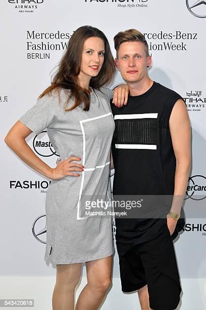 Katrin Wrobel and Lars Urban attend the Odeur show during the MercedesBenz Fashion Week Berlin Spring/Summer 2017 at Erika Hess Eisstadion on June 28...