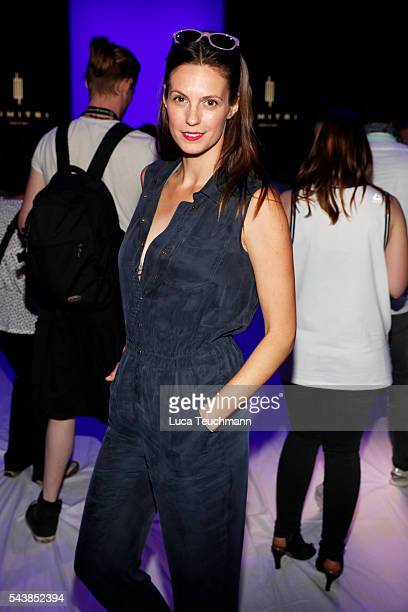Katrin Wrobel attends the Dimitri show during the MercedesBenz Fashion Week Berlin Spring/Summer 2017 at Erika Hess Eisstadion on June 30 2016 in...