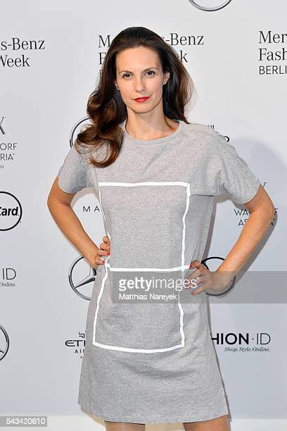 Katrin Wrobel attends the Odeur show during the MercedesBenz Fashion Week Berlin Spring/Summer 2017 at Erika Hess Eisstadion on June 28 2016 in...