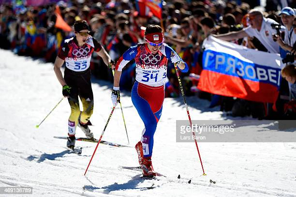 Katrin Zeller of Germany and Eva VrabcovaNyvltova of the Czech Republic compete in the Women's 10 km Classic during day six of the Sochi 2014 Winter...