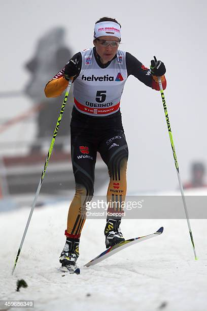 Katrin Zeller of Germany competes in the Women's 15km qualification free sprint at the Viessmann FIS Cross Country World Cup event at DKB Ski Arena...