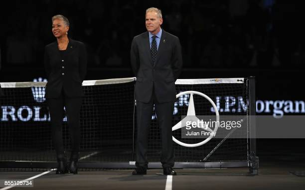 Katrina Adams CEO and President of the USTA with Steve Zacks the Managing Director of the Laver Cup are seen at the presentation ceremony during the...