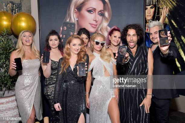 Katrina Barton Paris Hilton Joey Maalouf and guests attend Paris Hilton The Glam App Partnership Event on June 19 2019 in Hollywood California