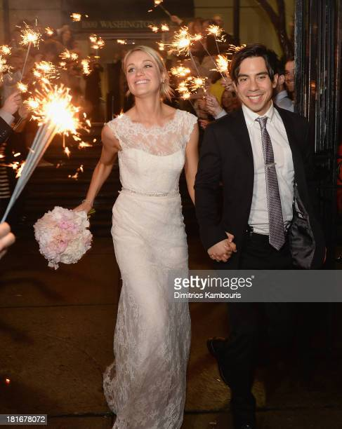 Katrina Bowden and Ben Jorgensen are seen during their wedding at the Brooklyn Botanic Garden May 19 2013 in the Brooklyn borough of New York City