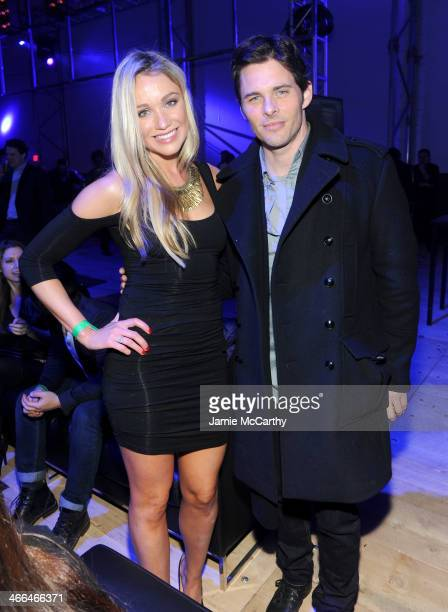 Katrina Bowden and James Marsden attend the DirecTV Super Saturday Night at Pier 40 on February 1 2014 in New York City