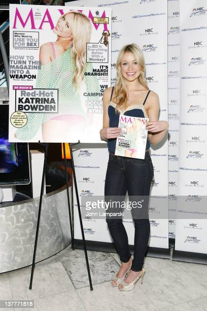Katrina Bowden signs her cover of Maxim magazine at the NBC Experience Store on January 26 2012 in New York City
