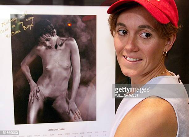 Katrina Boyd of the Matildas' Australia's women's soccer team poses with a nude photo of herself which is part of a calendar produced to promote...