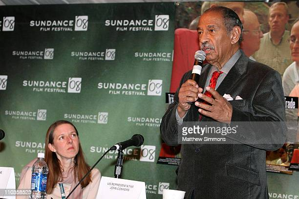 Katrina Browne and US Representative John Conyers attends the Traces of the Trade Press Conference at Yarrow during the 2008 Sundance Film Festival...