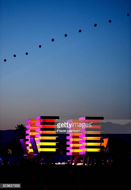 Katrina Chairs art installation by Alexandre Arrechea is seen during day 2 of the 2016 Coachella Valley Music Arts Festival Weekend 2 at the Empire...