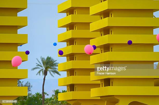 Katrina Chairs art installation by Alexandre Arrechea is seen during day 3 of the 2016 Coachella Valley Music Arts Festival Weekend 2 at the Empire...