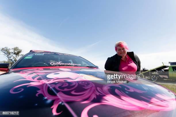 Katrina Cochrane and her Ute 'Pink Beauty' at the 2017 Deni Ute Muster on September 30 2017 in Deniliquin Australia The annual Deniliquin Ute Muster...