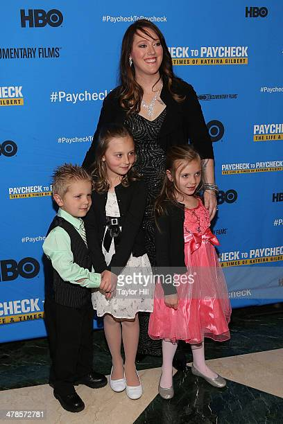 """Katrina Gilbert attends the """"Paycheck To Paycheck: The Life And Times Of Katrina Gilbert"""" premiere at HBO Theater on March 13, 2014 in New York City."""