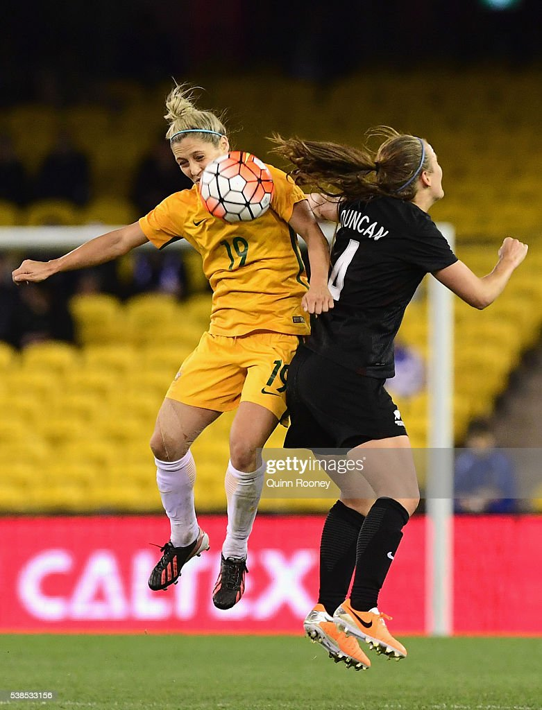Katrina Gorry of Australia and Katie Duncan of New Zealand compete to head the ball during the Women's International Friendly match between the Australia Matildas and the New Zealand Football Ferns at Etihad Stadium on June 7, 2016 in Melbourne, Australia.