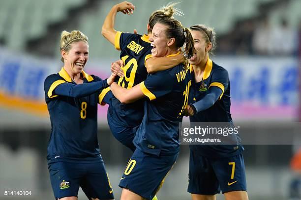 Katrina Gorry of Australia celebrates scoring her team's second goal with her team mates Emily van Egmond Stephanie Catley and Elise KellondKnight of...