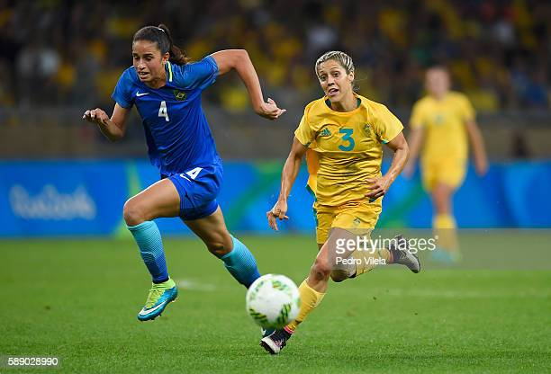 Katrina Gorry of Australia controls the ball against Rafaelle of Brazil in the first half during the Women's Football Quarterfinal match at Mineirao...