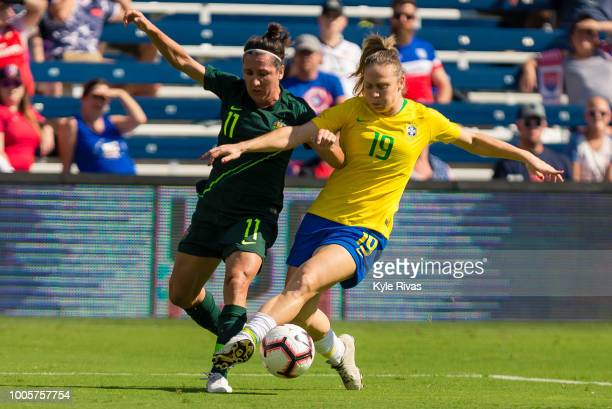 Katrina Gorry of Australia fends off Adriana of Brazil during the second half of the 2018 Tournament Of Nations on July 26 2018 at Children's Mercy...