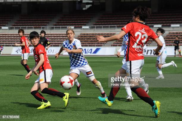 Katrina Gorry of Mynavi Vegalta Sendai Ladies and Aoi Kizaki of Urawa Red Diamonds Ladies compete for the ball during the Nadeshiko League match...