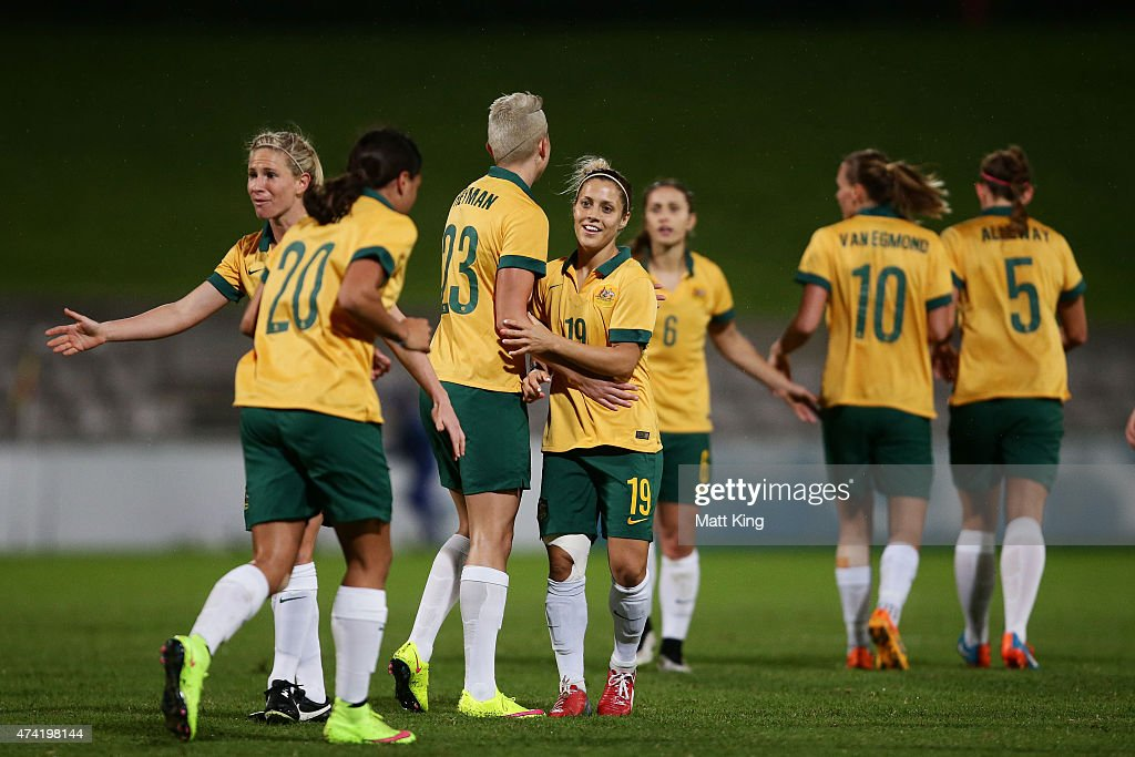 Katrina Gorry (C) of the Matildas celebrates with team mates after scoring a goal during the international women's friendly match between the Australian Matildas and Vietnam at WIN Jubilee Stadium on May 21, 2015 in Sydney, Australia.
