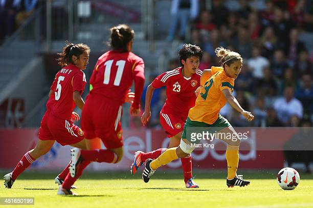 Katrina Gorry of the Matildas controls the ball to score the first goal during the match between the Australian Matildas and China PR at WIN Stadium...