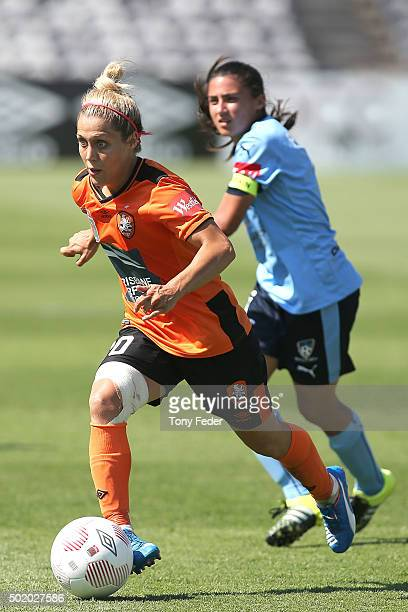 Katrina Gorry of the Roar controls the ball during the round 10 W-League match between Sydney FC and Brisbane Roar at Central Coast Stadium on...